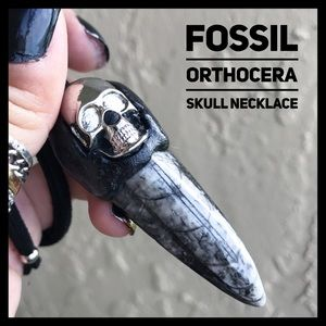 Fossil orthocera skull black polymer clay necklace